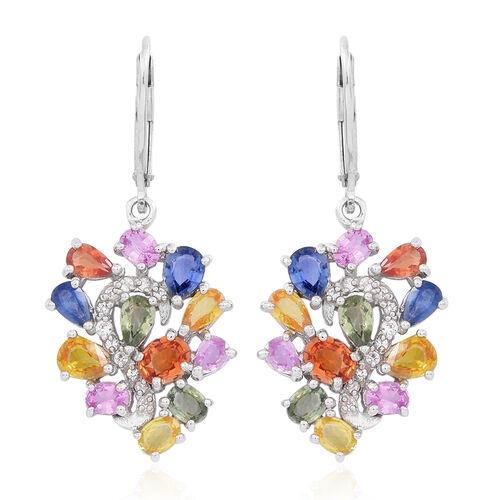 Yellow Sapphire (Pear), Green Sapphire, Pink Sapphire, Madagascar Blue Sapphire, Orange Sapphire, Red Sapphire and White Zircon Lever Back Earrings in Rhodium Plated Sterling Silver 6.250 Ct.