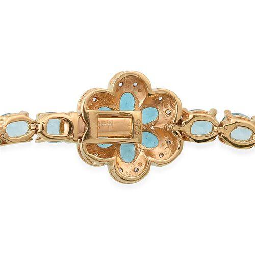 Paraiba Apatite (Ovl), Malgache Neon Apatite and White Topaz Floral Bracelet (Size 7) in 14K Gold Overlay Sterling Silver 13.250 Ct.