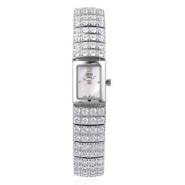 EON 1962 Sterling Silver (45.53 Gms) Rodium Plate, Simulated Diamond Studded Time Piece 45.53 Gms.