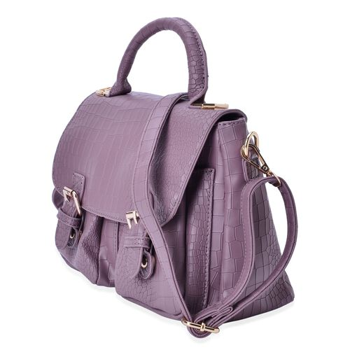 Croc Embossed Purple Colour Crossbody Bag With Adjustable and Removable Shoulder Strap (Size 24x19x14 Cm)
