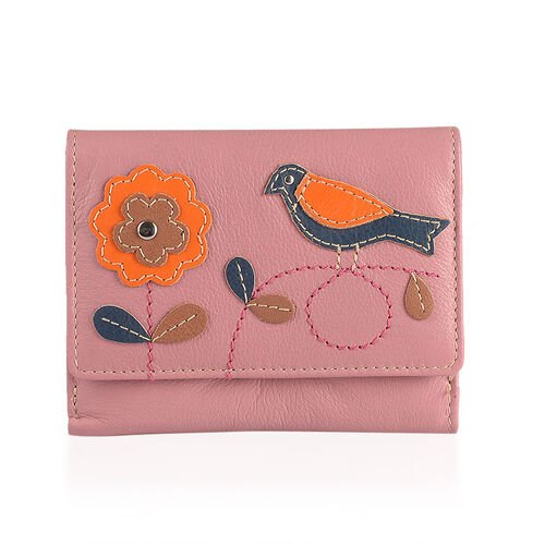 New Arrival - 100% Genuine Leather RFID Pink, Orange and Multi Colour Flower with Bird Design Purse (Size 12X9 Cm)