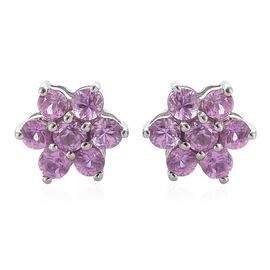 RHAPSODY 950 Platinum AAAA Pink Sapphire Floral Stud Earrings (with Screw Back) 1 Carat