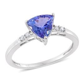 9K White Gold 1.25 Ct AA Tanzanite and Diamond Ring