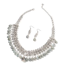 Simulated Grey Diamond Necklace (Size 20 with 2 inch Extender) and Hook Earrings in Silver Tone