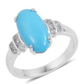 AAA Arizona Sleeping Beauty Turquoise (Ovl 2.75 Ct), Natural White Cambodian Zircon Ring in Platinum Overlay Sterling Silver 3.000 Ct.