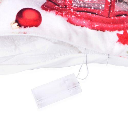 White, Red and Multi Colour Christmas Lantern Theme LED Cushion (Size 40X40 Cm)