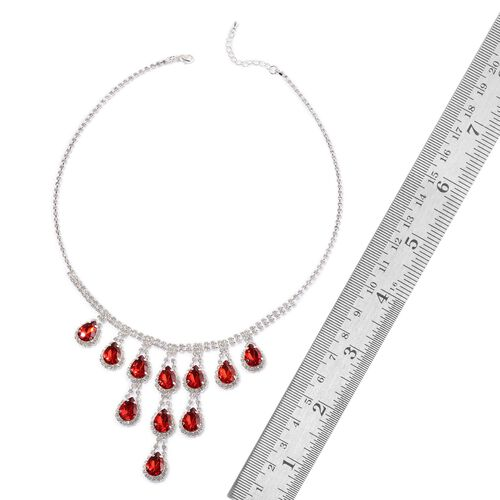 Simulated Ruby and White Austrian Crystal Necklace (Size 20 with 2 inch Extender) in Silver Tone