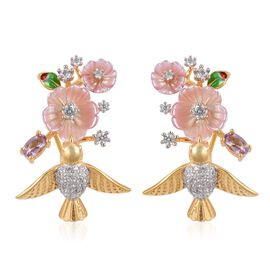 Jardin Collection - Pink Mother of Pearl, Rose De France Amethyst and Natural White Cambodian Zircon Flower and Bird Earrings (with French Clip) in Rhodium and Yellow Gold Overlay Sterling Silver