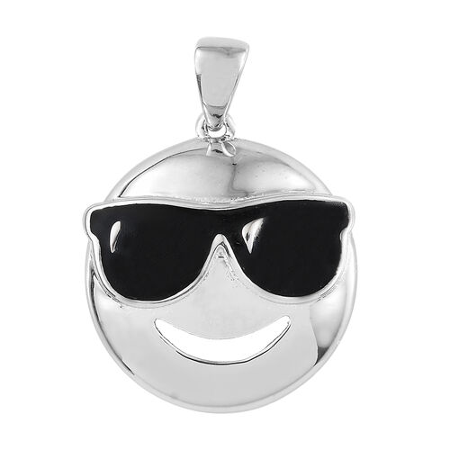 Smiling Face with Sunglasses Smiley Silver Pendant in Platinum Overlay