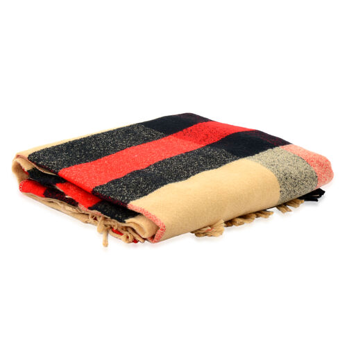 Close Out Deal-Check Pattern Cream, Black and Red Wrap Cape (Size 120x160 Cm)