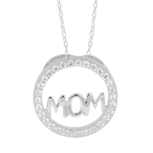 AAA Simulated White Diamond (Rnd) Circle Mom Pendant With Chain in Sterling Silver