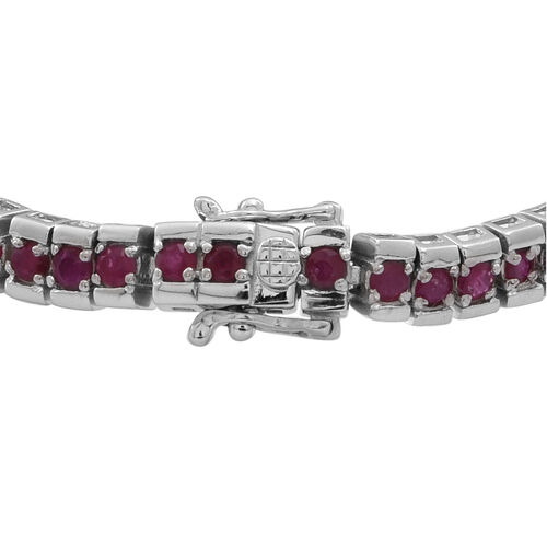 AAA Burmese Ruby (Rnd) Tennis Bracelet (Size 7.5) in Rhodium Plated Sterling Silver 8.000 Ct.