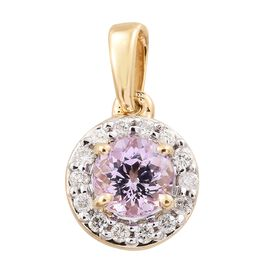 14K Y Gold AA Pink Tanzanite (Rnd), Diamond (I2/G-H) Pendant 0.750 Ct.