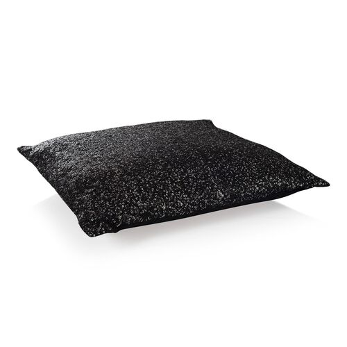 Black Colour Cushion with Silver Sequins (Size 42x42 Cm)