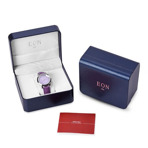 Preview Auction - EON 1962 Swiss Movement Purple Jade Dial 3ATM Water Resistent Watch with Genuine Leather Strap 25.000 Ct.