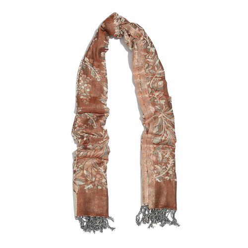 Rose and Silver Floral Viscos Lurex Scarf (Size 180x70 Cm)