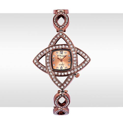 STRADA Japanese Movement Chocolate Colour Sunshine Dial with White Austrian Crystal Water Resistant Watch in Rose Gold Tone with Stainless Steel Back and Chain Strap