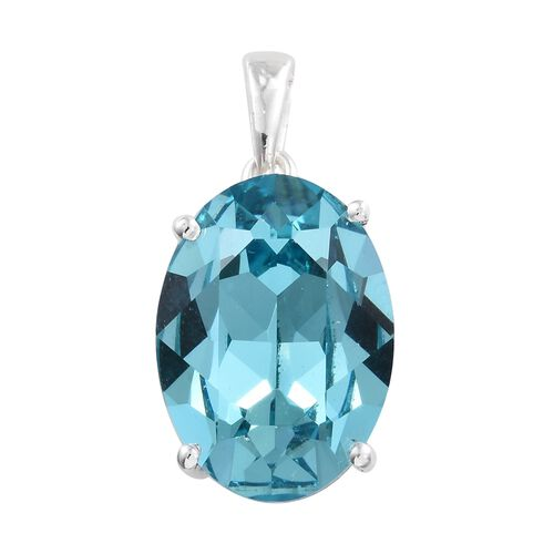 J Francis Crystal from Swarovski - Light Turquoise Colour Crystal (Ovl) Pendant in Sterling Silver