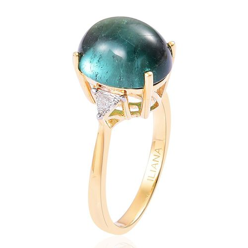 ILIANA 18K Y Gold AAA Monte Belo Indicolite (Ovl 7.00 Ct), Diamond (SI/G-H) Ring 7.100 Ct.