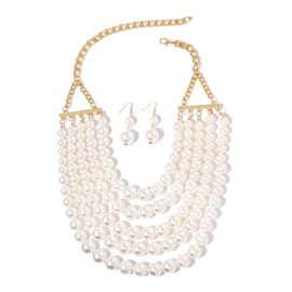 Simulated White Pearl Multi Row Bead Necklace (Size 25) and Hook Earrings in Yellow Gold Tone with Stainless Steel