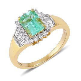 Iliana Boyaca Colombian Emerald (1.75 Ct) and Diamond 18K Y Gold Ring  2.250  Ct.
