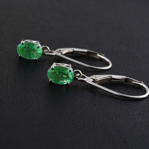 9K White Gold 1 Carat Boyaca Colombian Emerald Oval Lever Back Earrings