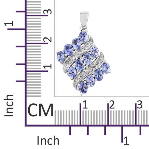 Tanzanite (Ovl), Natural Cambodian Zircon Pendant in Platinum Overlay Sterling Silver 2.500 Ct.