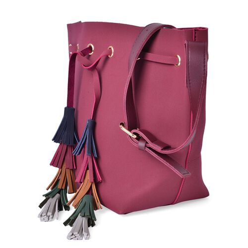 Red Colour Crossbody Bag with Adjustable Shoulder Strap and Colourful Tassels (Size 31X26X13 Cm)