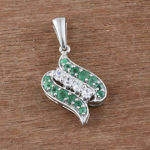Brazilian Emerald and White Zircon Pendant in Sterling Silver 1.270 Ct.