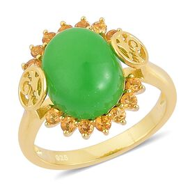 Chinese Green Jade (Ovl 6.25 Ct), Citrine Ring in Yellow Gold Overlay Sterling Silver 6.650 Ct.