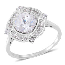 ELANZA AAA Simulated White Diamond (Cush) Ring in Rhodium Plated Sterling Silver