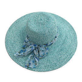 Ladies Floppy Hat- Light Blue with Scarf Detailing
