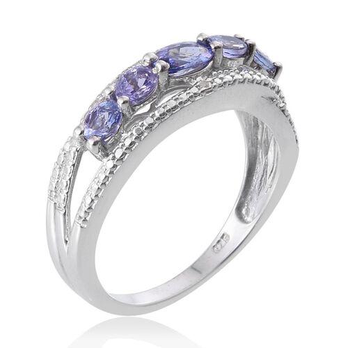 Tanzanite (1.15 Ct) and Diamond Platinum Overlay Sterling Silver Ring  1.160  Ct.