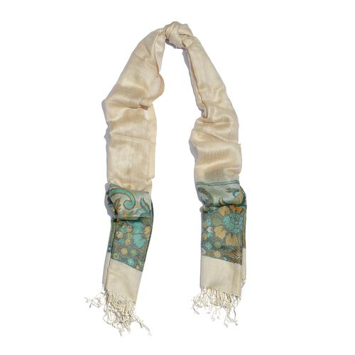 100% Modal Green and Multi Colour Floral and Leaves Pattern Beige Colour Jacquard Scarf (Size 190x70 Cm)