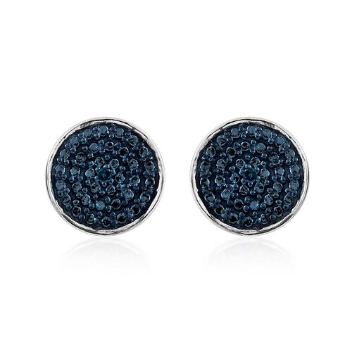 Blue Diamond Pave Disc Stud Earrings in Platinum Overlay Sterling Silver
