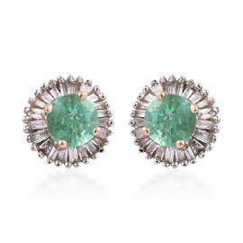 9K Yellow Gold 1 Carat AA Boyaca Colombian Emerald Halo Stud Diamond Earrings (with Push Back)