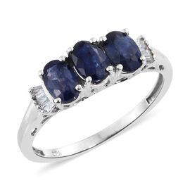 Masoala Sapphire (1.96 Ct) and Diamond Platinum Overlay Sterling Silver Ring  2.000  Ct.