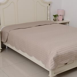 King Size Luxury Satin Quilt with Geometrical Embroidery and Scalopped Edges in Mermaid Light Gold Colour (Size 260x240 Cm)