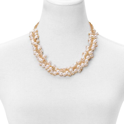 Simulated White Pearl Necklace (Size 18) and Bracelet (Size 7.50) in Yellow Gold Tone