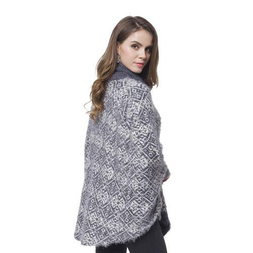 Grey and White Colour Square Pattern Cape (Size 112X80 Cm)