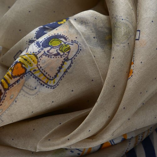100% Mulberry Silk Navy and Multi Colour Lady Pattern Cream Colour Scarf (Size 180x100 Cm)