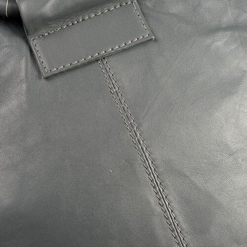 (TODAY ONLY PRICE )Designer Inspired - 100% Genuine Leather RFID Blocker Grey Colour Handbag (Size 35X25X15 Cm)