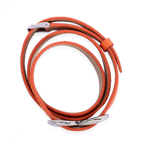 Stainless Steel Belt Buckle Bracelet (Size 8 Inch) with Orange Strap