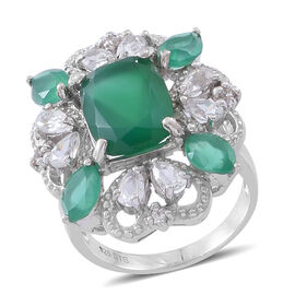 Verde Onyx (Cush 8.00 Ct), Natural Cambodian White Zircon Ring in Rhodium Plated Sterling Silver 10.750 Ct.