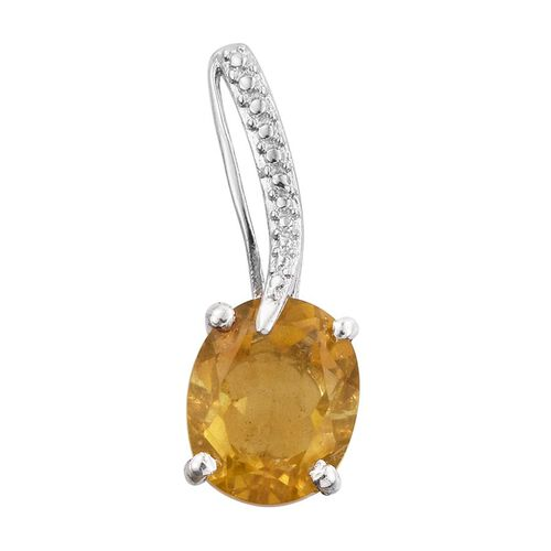 Rare Yellow Fluorite (Ovl) Solitaire Pendant in Platinum Overlay Sterling Silver 4.500 Ct.