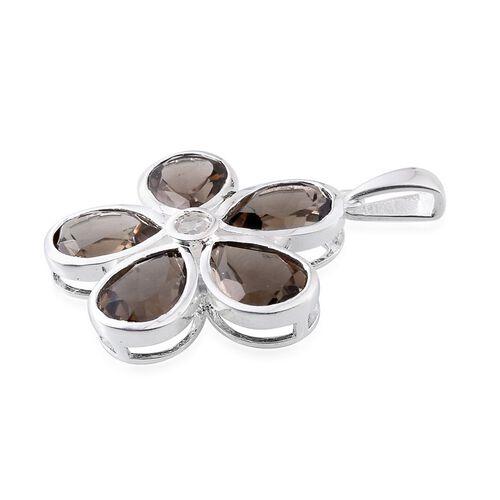 Brazilian Smoky Quartz (Pear), White Topaz Floral Pendant in Sterling Silver 8.250 Ct.