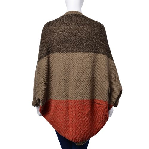 Black, Chocolate and Orange Colour Sleeve Poncho (Size 110x45 Cm)
