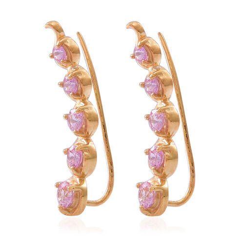 Pink Sapphire (Rnd) Climber Earrings in 14K Gold Overlay Sterling Silver 1.500 Ct.