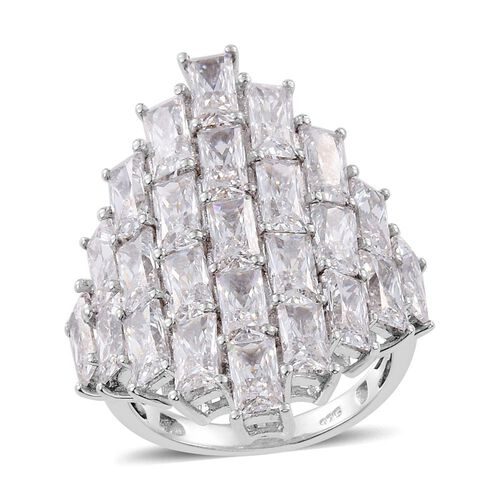 J Francis - Platinum Overlay Sterling Silver Pixel Ring Made with SWAROVSKI ZIRCONIA