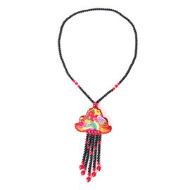 Shanghai Collection- Hand Crafted Multi Colour Phoenix Embroidered Necklace (Size 28) with Red and Black Colour Beads